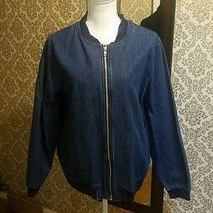Denim bomber style light weight jacket